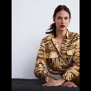 Zara Animal Print Blouse Small